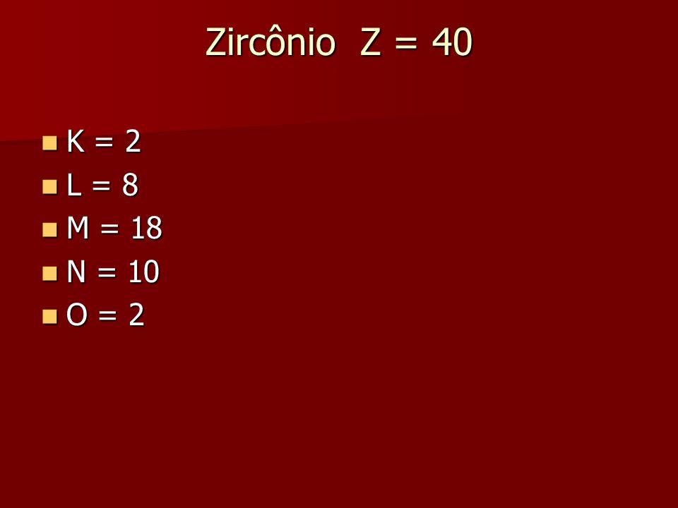 Zircônio Z = 40 K = 2 K = 2 L = 8 L = 8 M = 18 M = 18 N = 10 N = 10 O = 2 O = 2
