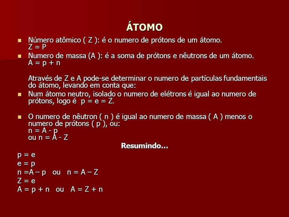 ÁTOMO Número atômico ( Z ): é o numero de prótons de um átomo. Z = P Número atômico ( Z ): é o numero de prótons de um átomo. Z = P Numero de massa (A