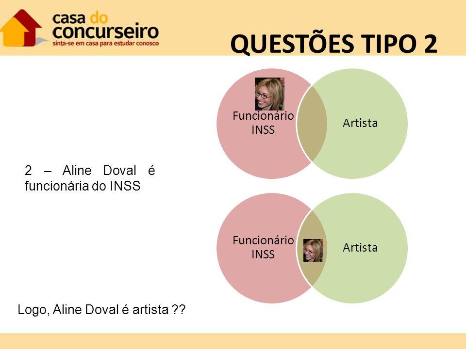 QUESTÕES TIPO 2 Logo, Aline Doval é artista ?? Funcionário INSS Artista 2 – Aline Doval é funcionária do INSS Funcionário INSS Artista