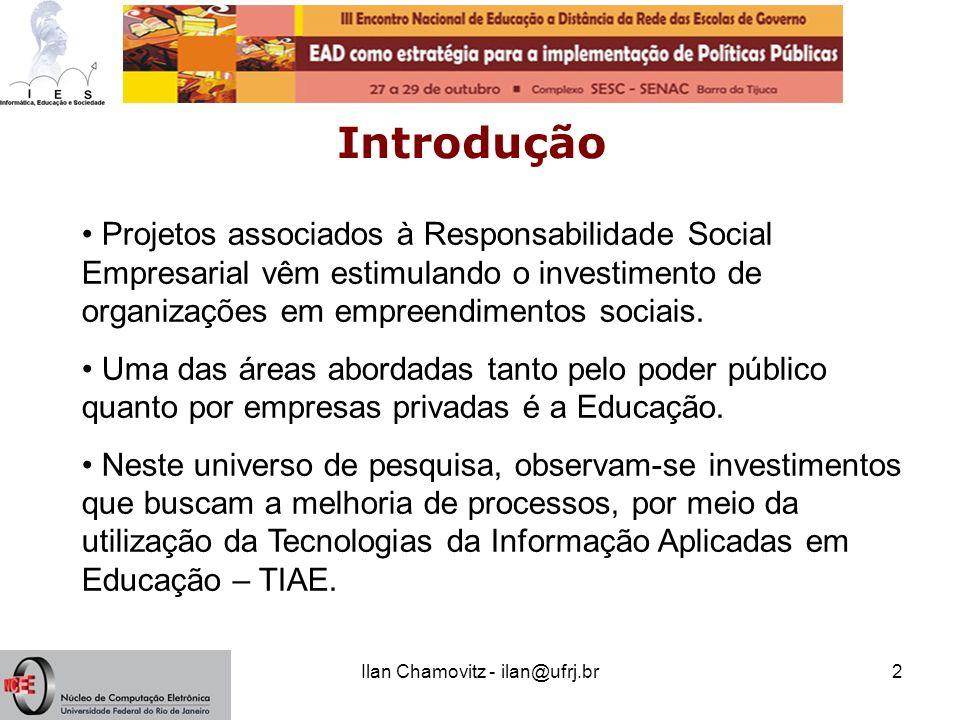 Ilan Chamovitz - ilan@ufrj.br2 Introdução Projetos associados à Responsabilidade Social Empresarial vêm estimulando o investimento de organizações em