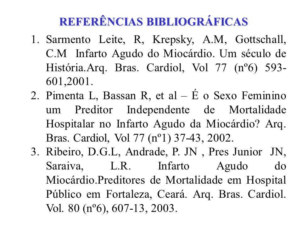 REFERÊNCIAS BIBLIOGRÁFICAS 1.Sarmento Leite, R, Krepsky, A.M, Gottschall, C.M Infarto Agudo do Miocárdio. Um século de História.Arq. Bras. Cardiol, Vo