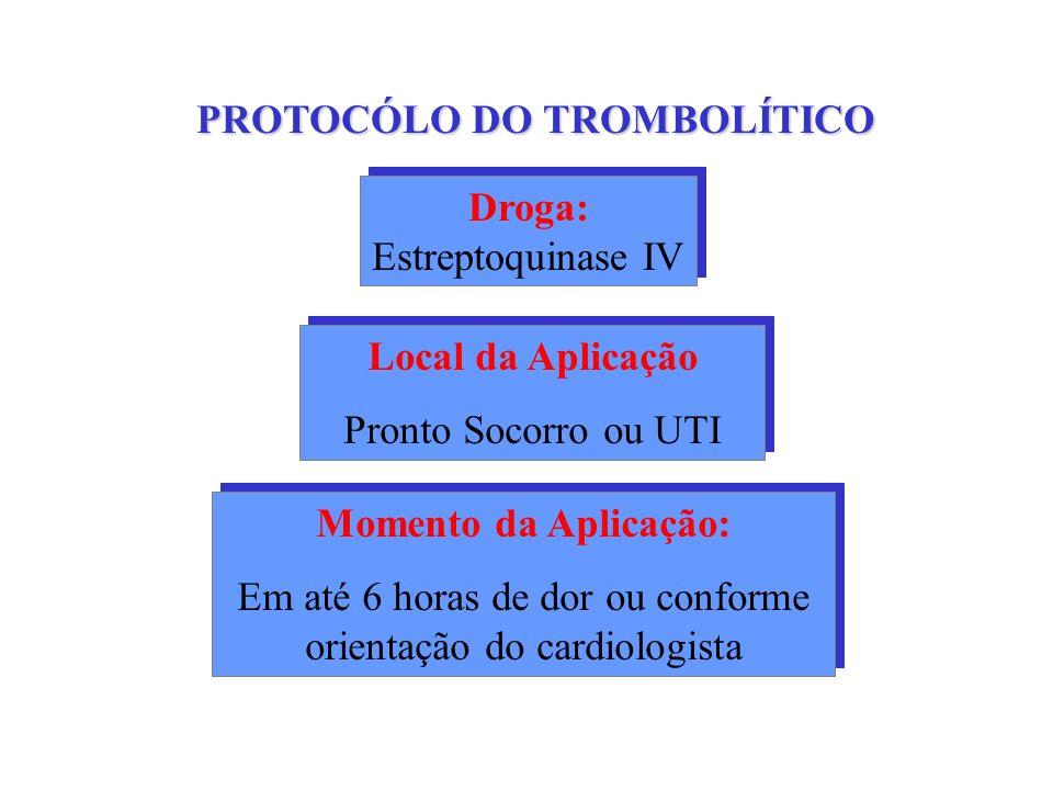 PROTOCÓLO DO TROMBOLÍTICO Droga: Estreptoquinase IV Droga: Estreptoquinase IV Local da Aplicação Pronto Socorro ou UTI Local da Aplicação Pronto Socor