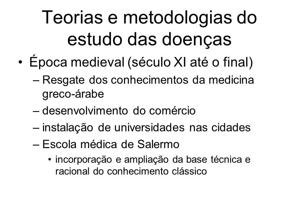 Teorias e metodologias do estudo das doenças Época medieval (século XI até o final) –Resgate dos conhecimentos da medicina greco-árabe –desenvolviment