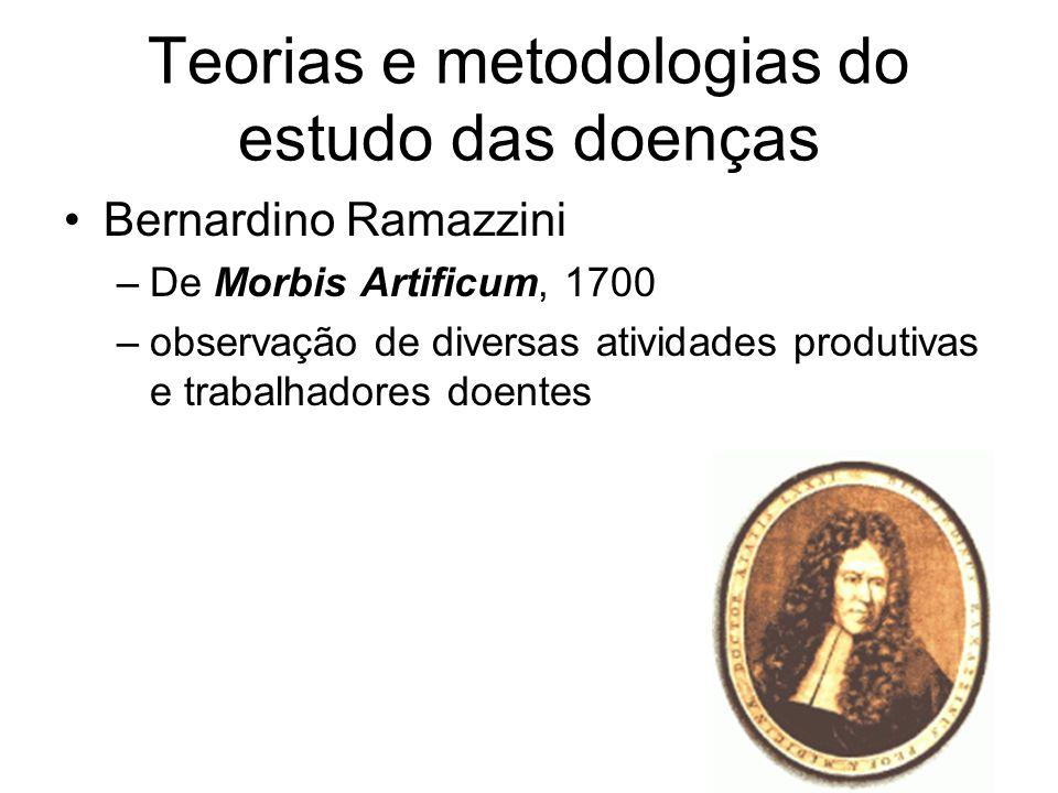Teorias e metodologias do estudo das doenças Bernardino Ramazzini –De Morbis Artificum, 1700 –observação de diversas atividades produtivas e trabalhad