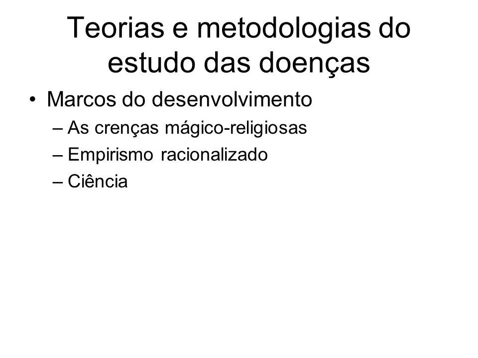 Teorias e metodologias do estudo das doenças Marcos do desenvolvimento –As crenças mágico-religiosas –Empirismo racionalizado –Ciência