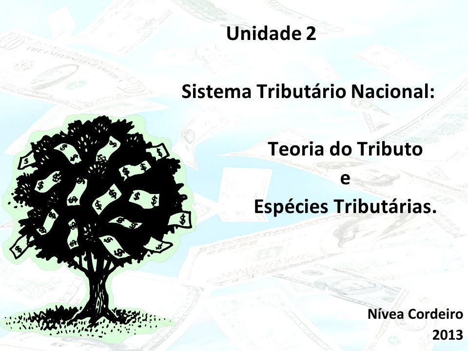 Click to edit Master subtitle style 15/02/10 Unidade 2 Sistema Tributário Nacional: Teoria do Tributo e Espécies Tributárias. Nívea Cordeiro 2013