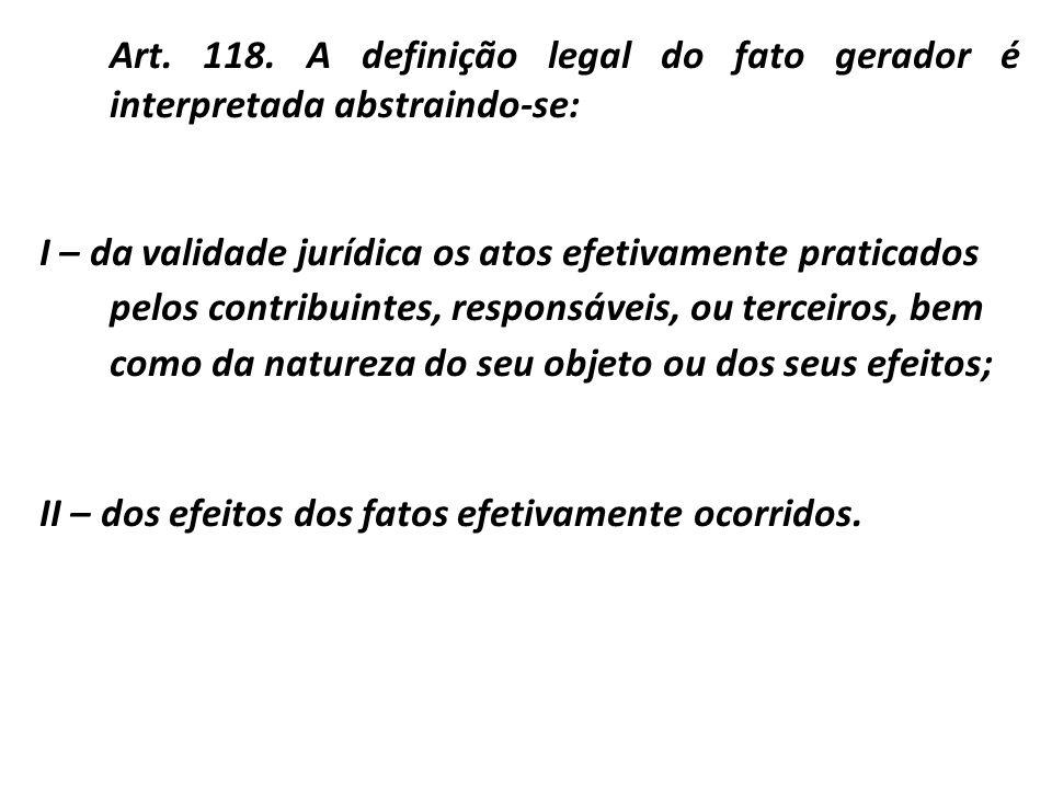 Art. 118. A definição legal do fato gerador é interpretada abstraindo-se: I – da validade jurídica os atos efetivamente praticados pelos contribuintes