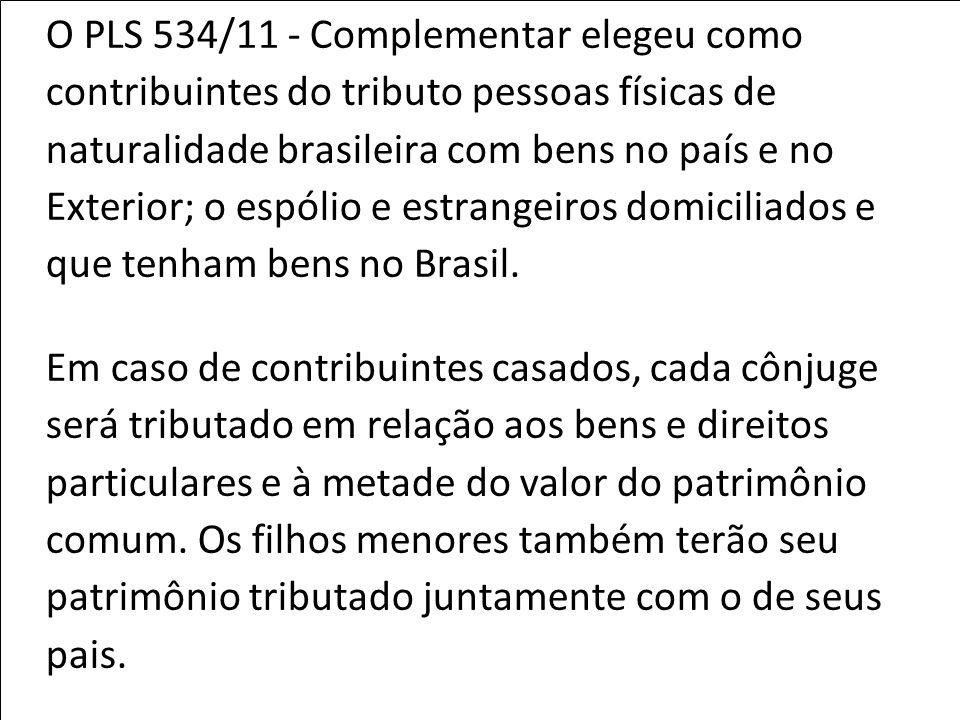 O PLS 534/11 - Complementar elegeu como contribuintes do tributo pessoas físicas de naturalidade brasileira com bens no país e no Exterior; o espólio