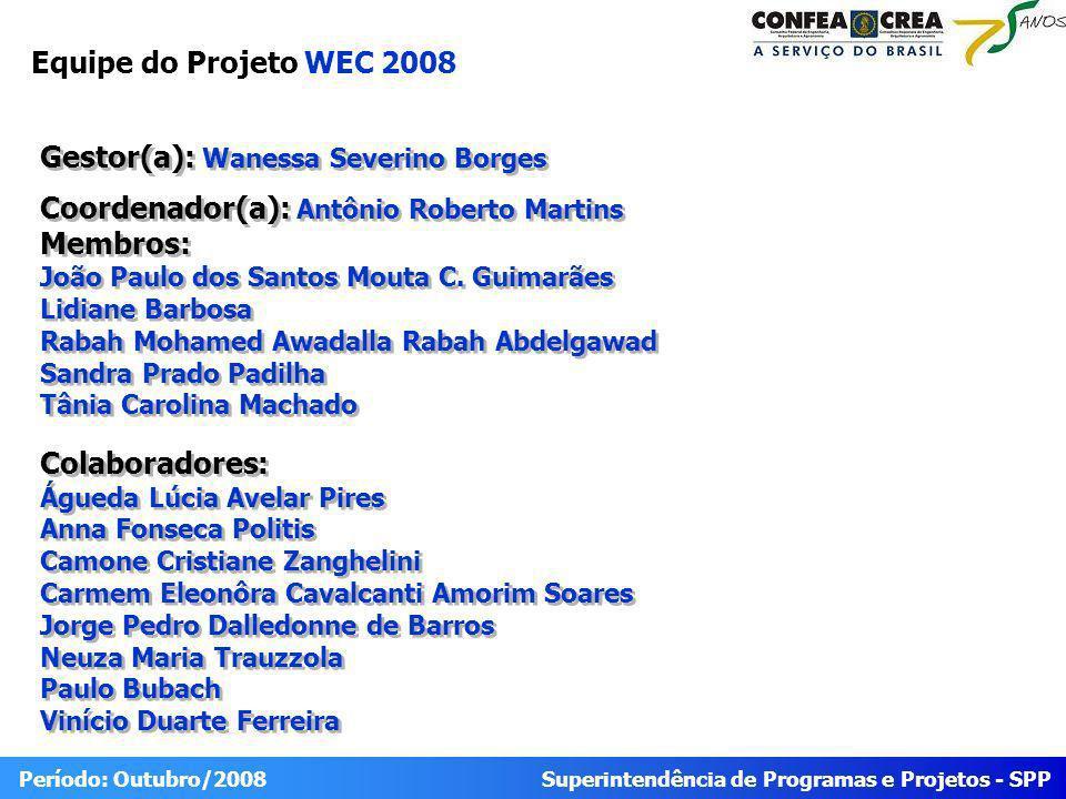 Superintendência de Programas e Projetos - SPP Período: Outubro/2008 Equipe do Projeto WEC 2008 Gestor(a): Wanessa Severino Borges Coordenador(a): Antônio Roberto Martins Membros: João Paulo dos Santos Mouta C.