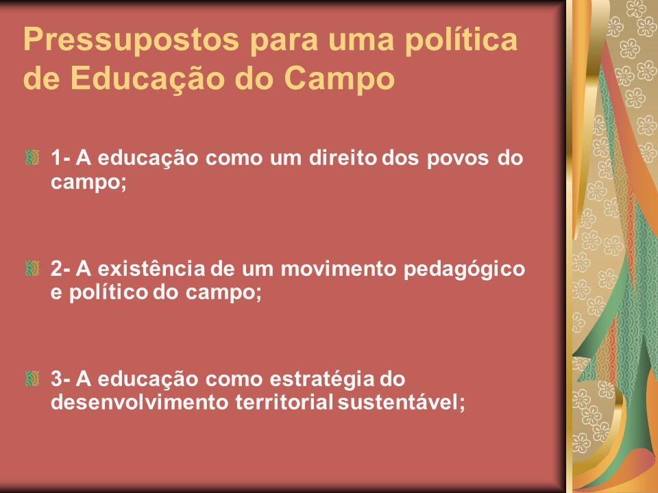 Pressupostos para uma política de Educação do Campo 1- A educação como um direito dos povos do campo; 2- A existência de um movimento pedagógico e pol
