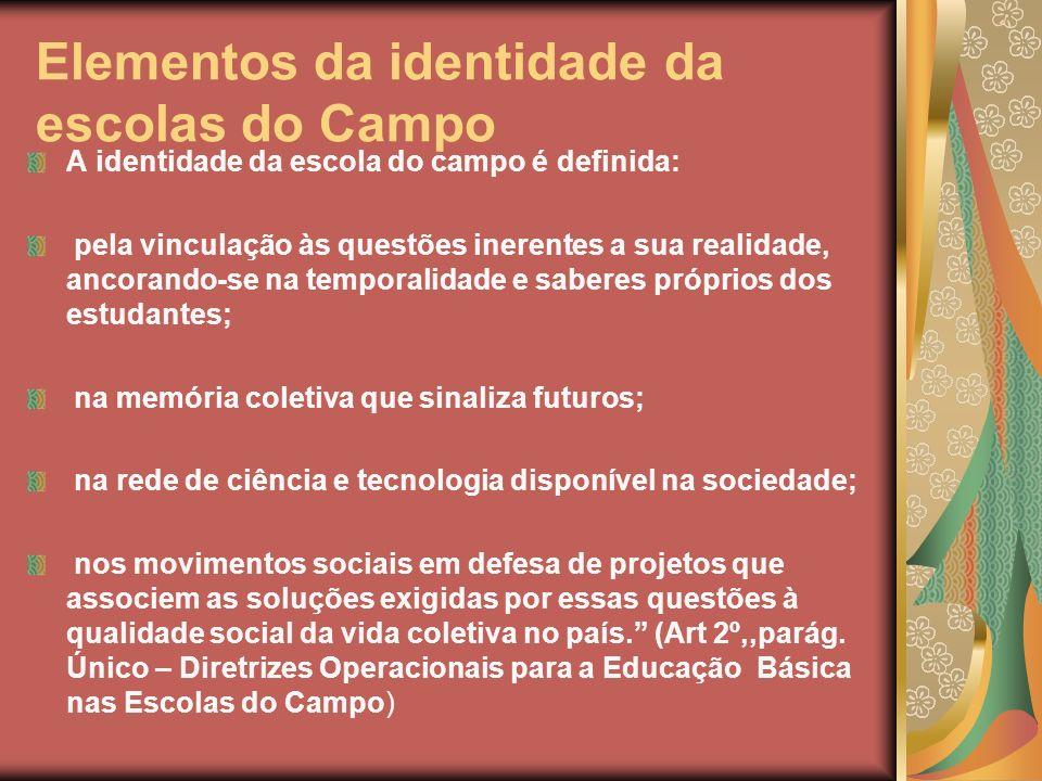 Elementos da identidade da escolas do Campo A identidade da escola do campo é definida: pela vinculação às questões inerentes a sua realidade, ancoran
