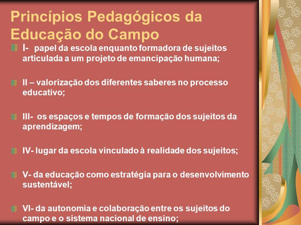 Princípios Pedagógicos da Educação do Campo I- papel da escola enquanto formadora de sujeitos articulada a um projeto de emancipação humana; II – valo