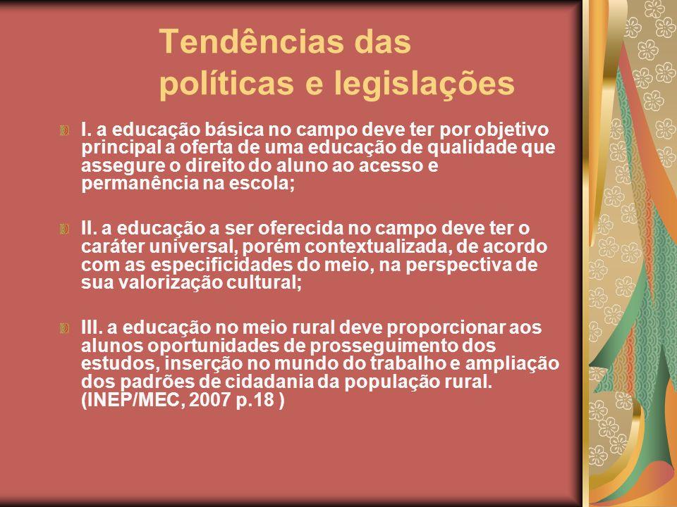 Tendências das políticas e legislações I. a educação básica no campo deve ter por objetivo principal a oferta de uma educação de qualidade que assegur