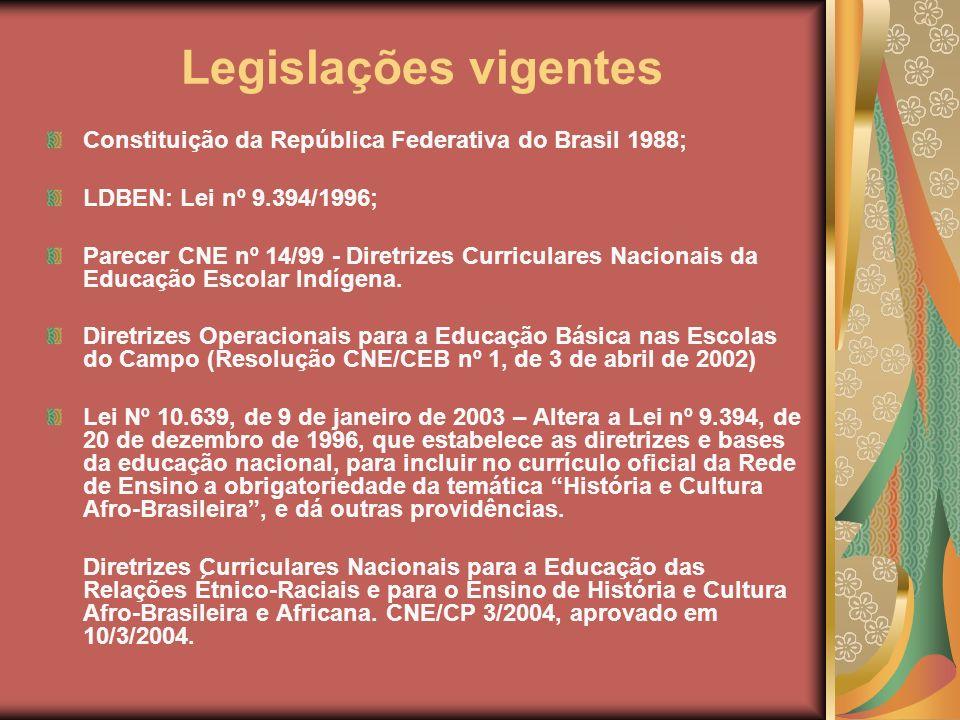 Legislações vigentes Constituição da República Federativa do Brasil 1988; LDBEN: Lei nº 9.394/1996; Parecer CNE nº 14/99 - Diretrizes Curriculares Nac