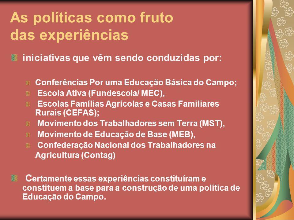 As políticas como fruto das experiências iniciativas que vêm sendo conduzidas por: Conferências Por uma Educação Básica do Campo; Escola Ativa (Fundes