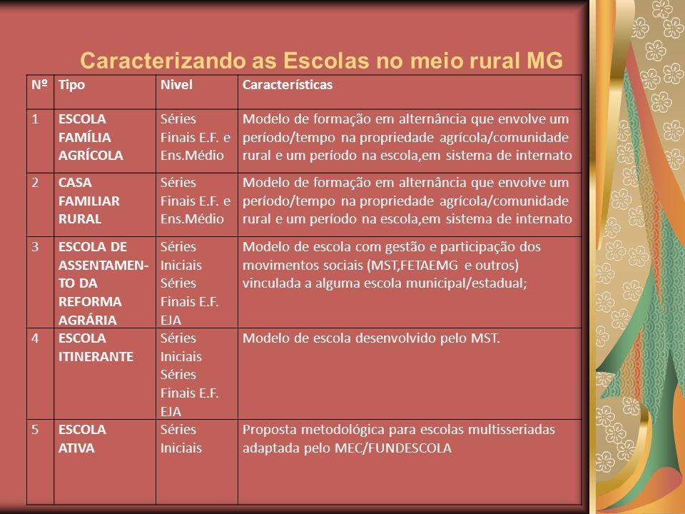Caracterizando as Escolas no meio rural MG NºTipoNivelCaracterísticas 1ESCOLA FAMÍLIA AGRÍCOLA Séries Finais E.F. e Ens.Médio Modelo de formação em al