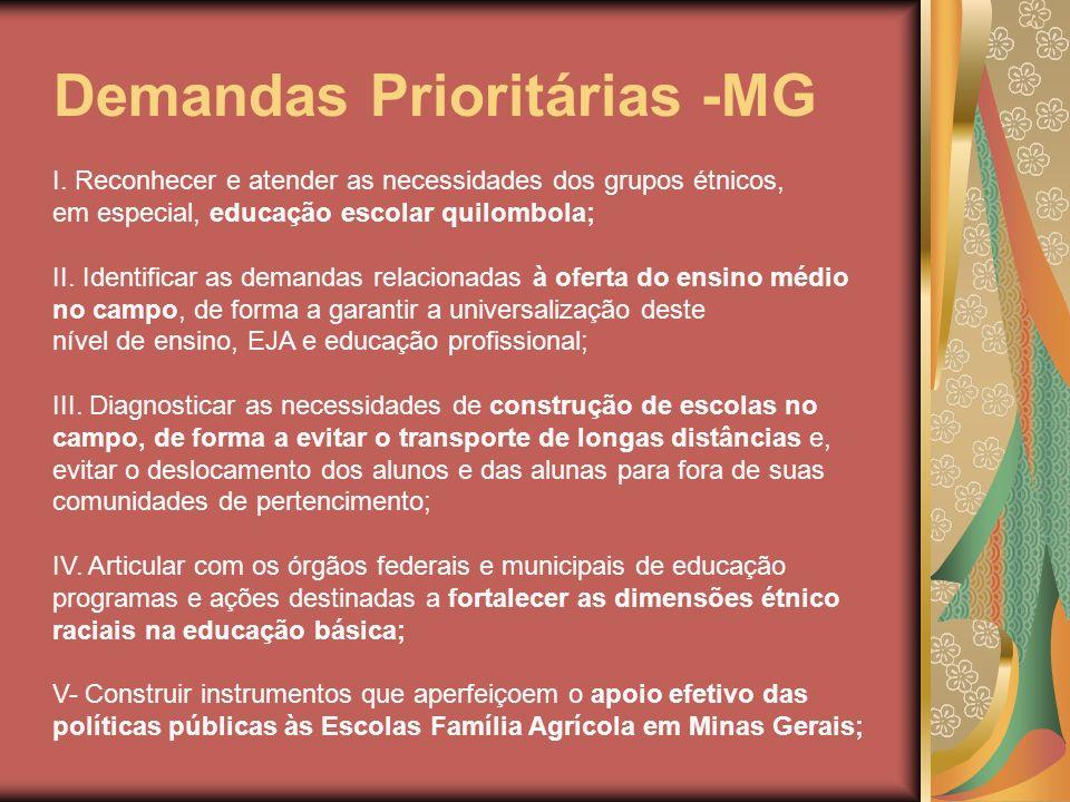 Demandas Prioritárias -MG I. Reconhecer e atender as necessidades dos grupos étnicos, em especial, educação escolar quilombola; II. Identificar as dem