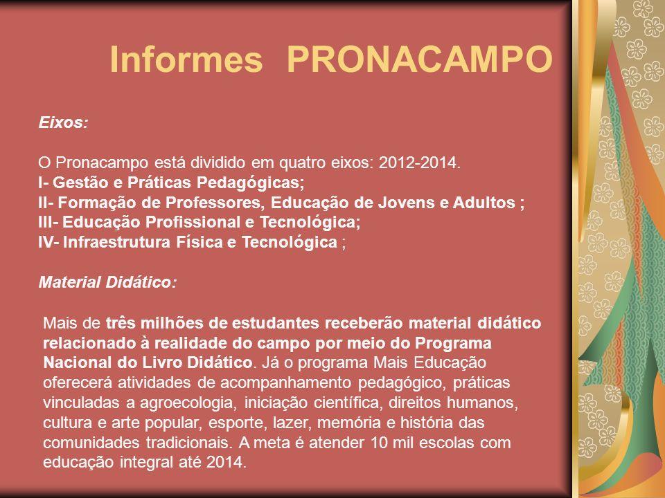 Informes PRONACAMPO Eixos: O Pronacampo está dividido em quatro eixos: 2012-2014. I- Gestão e Práticas Pedagógicas; II- Formação de Professores, Educa