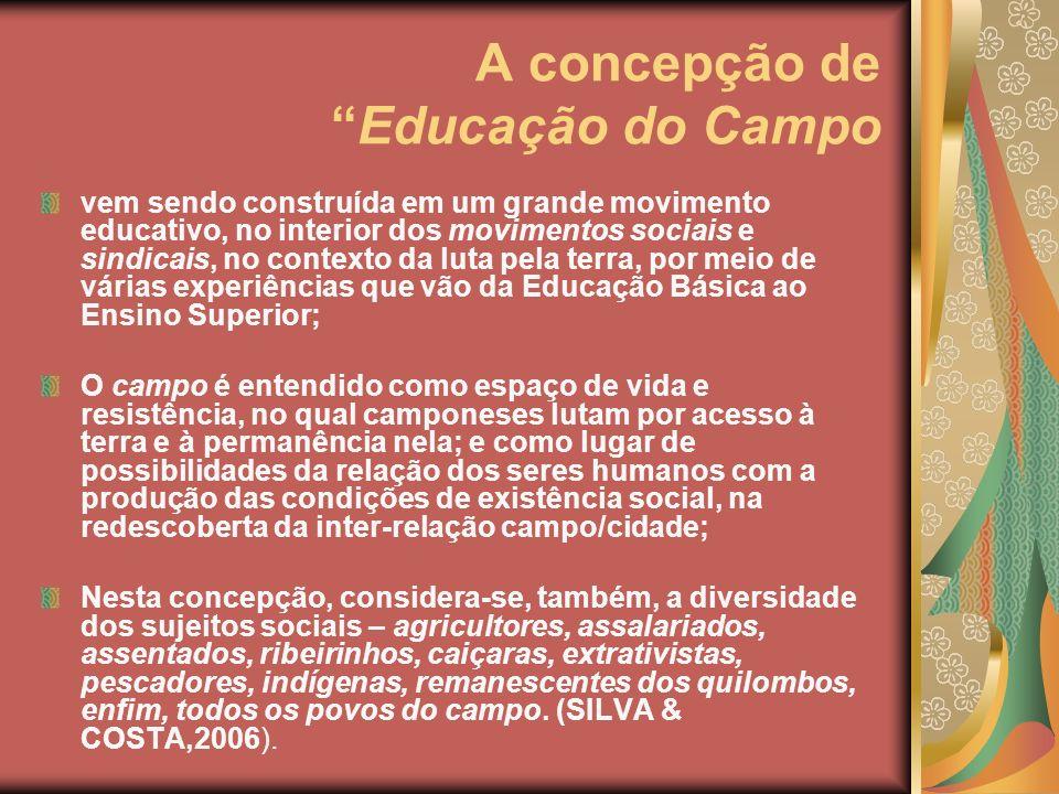 A concepção de Educação do Campo vem sendo construída em um grande movimento educativo, no interior dos movimentos sociais e sindicais, no contexto da