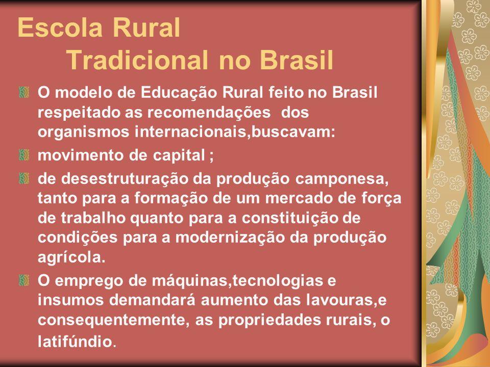 Escola Rural Tradicional no Brasil O modelo de Educação Rural feito no Brasil respeitado as recomendações dos organismos internacionais,buscavam: movi