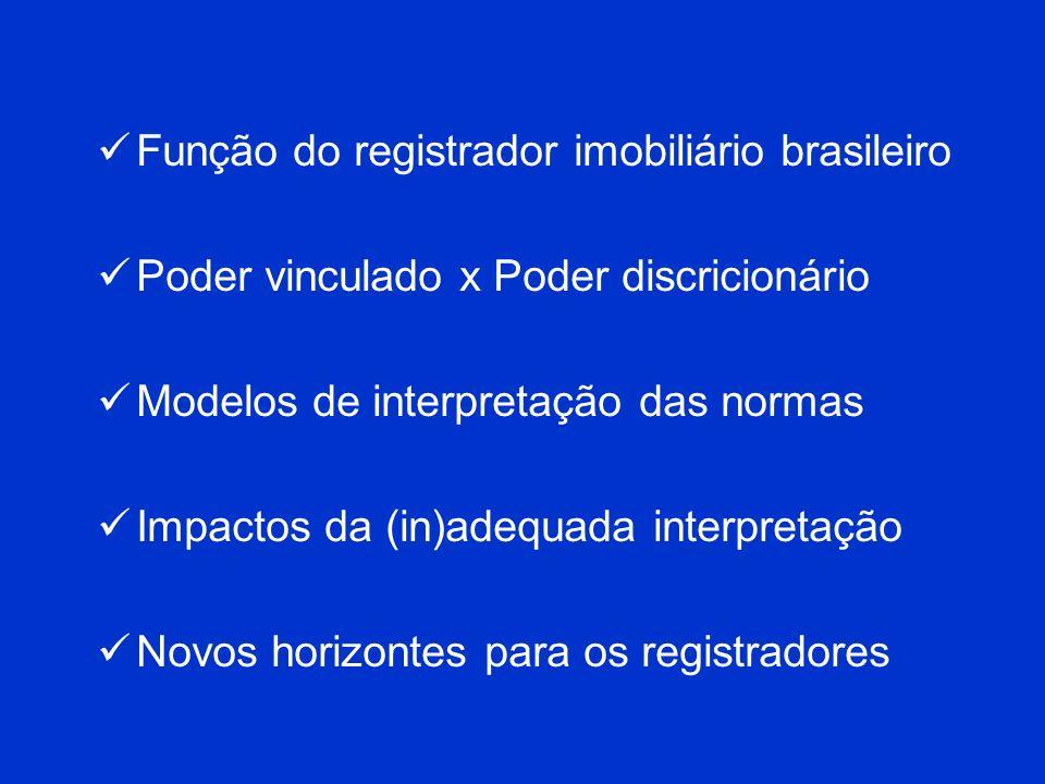 Função do registrador imobiliário brasileiro Poder vinculado x Poder discricionário Modelos de interpretação das normas Impactos da (in)adequada inter