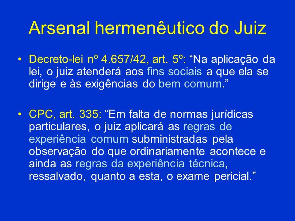 Arsenal hermenêutico do Juiz Decreto-lei nº 4.657/42, art. 5º: Na aplicação da lei, o juiz atenderá aos fins sociais a que ela se dirige e às exigênci