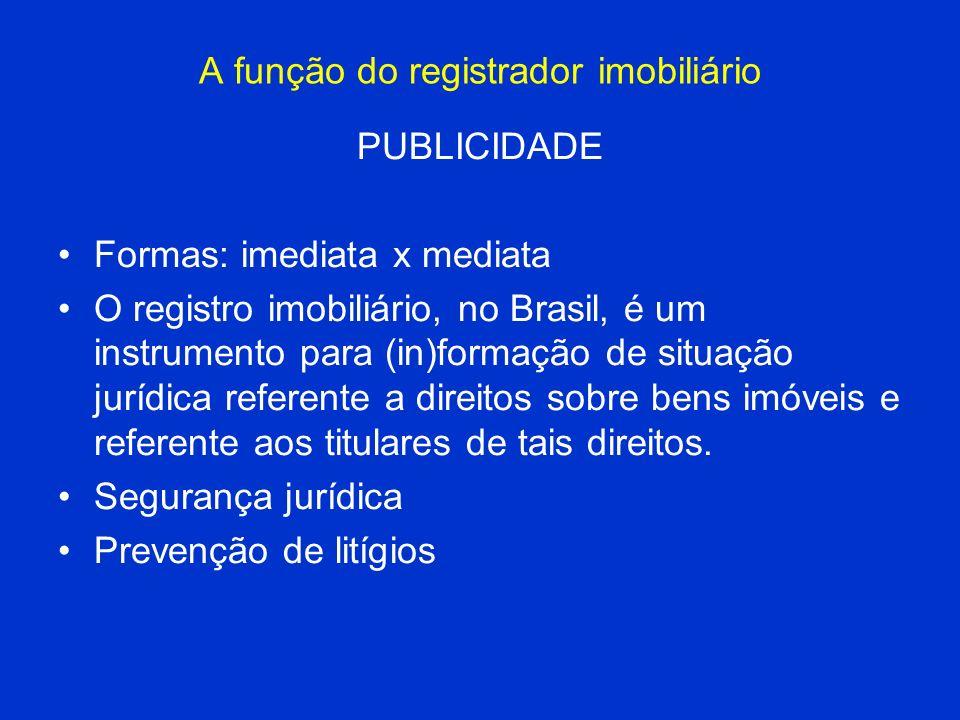 A função do registrador imobiliário PUBLICIDADE Formas: imediata x mediata O registro imobiliário, no Brasil, é um instrumento para (in)formação de si