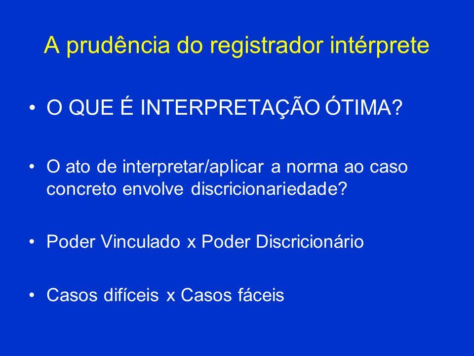 A prudência do registrador intérprete O QUE É INTERPRETAÇÃO ÓTIMA? O ato de interpretar/aplicar a norma ao caso concreto envolve discricionariedade? P