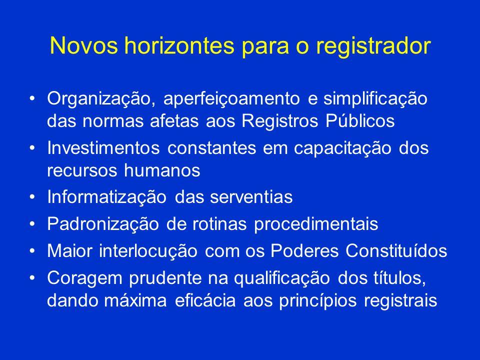 Novos horizontes para o registrador Organização, aperfeiçoamento e simplificação das normas afetas aos Registros Públicos Investimentos constantes em