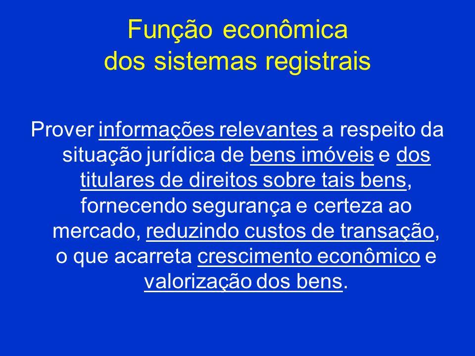 Função econômica dos sistemas registrais Prover informações relevantes a respeito da situação jurídica de bens imóveis e dos titulares de direitos sob