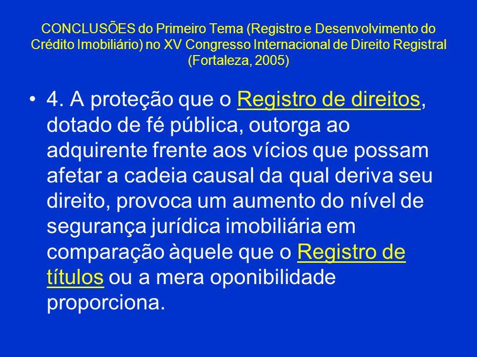 CONCLUSÕES do Primeiro Tema (Registro e Desenvolvimento do Crédito Imobiliário) no XV Congresso Internacional de Direito Registral (Fortaleza, 2005) 4