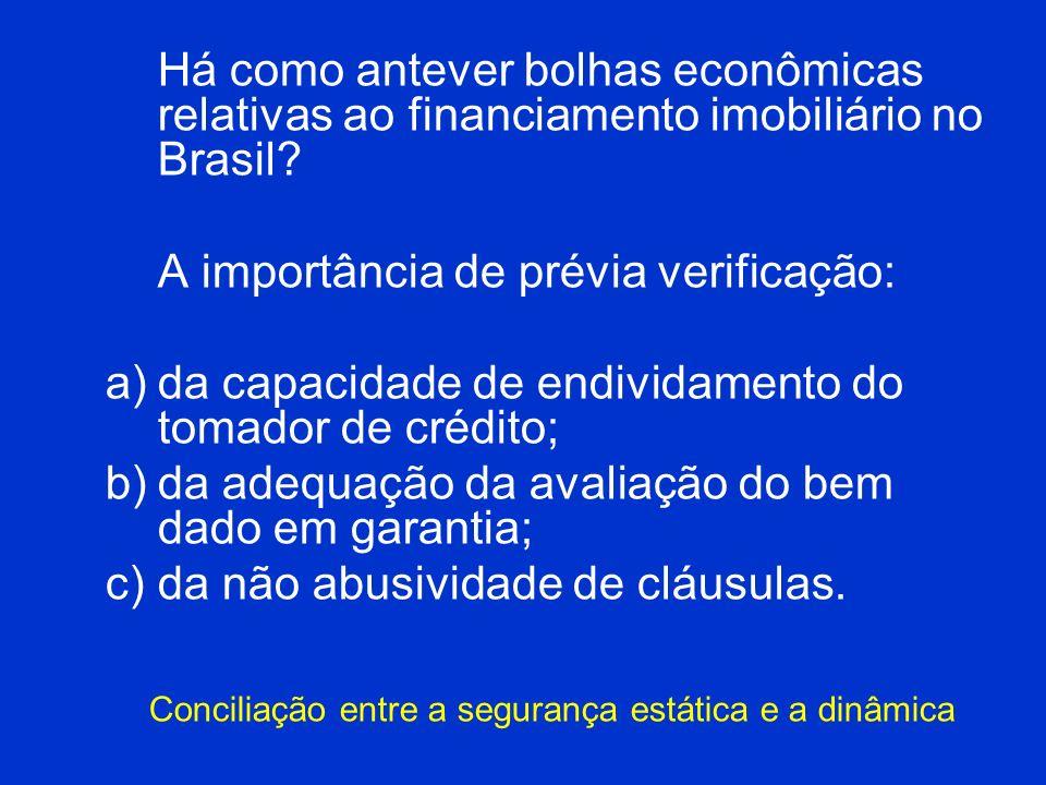Há como antever bolhas econômicas relativas ao financiamento imobiliário no Brasil? A importância de prévia verificação: a)da capacidade de endividame