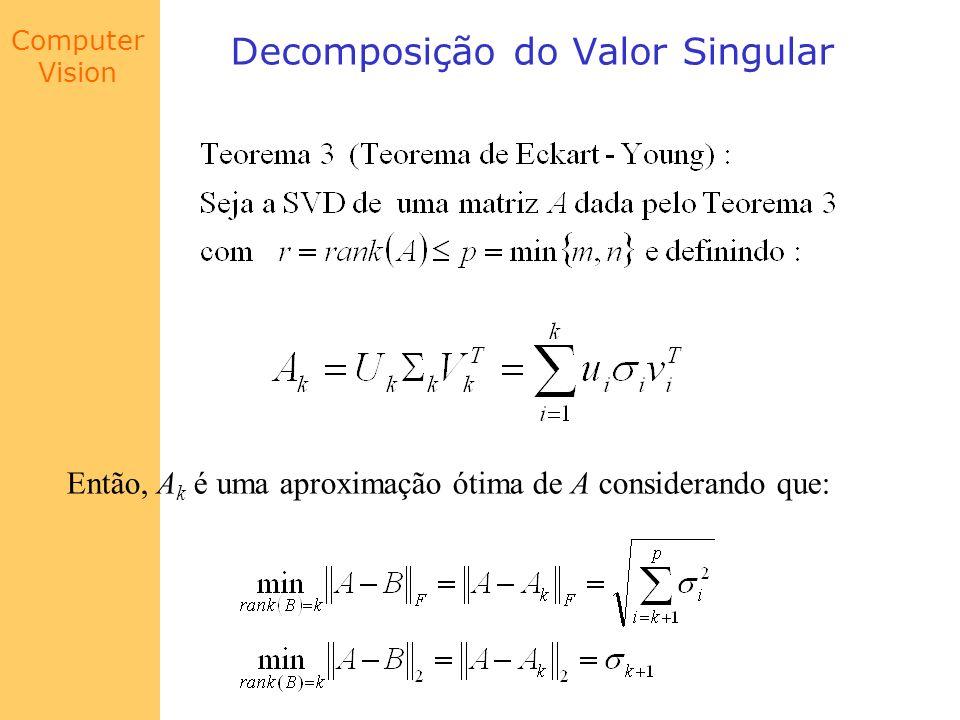 Computer Vision Decomposição do Valor Singular Então, A k é uma aproximação ótima de A considerando que: