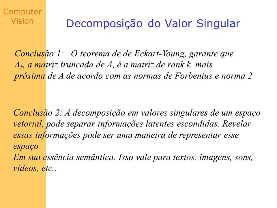 Computer Vision Decomposição do Valor Singular Conclusão 1: O teorema de de Eckart-Young, garante que A k, a matriz truncada de A, é a matriz de rank