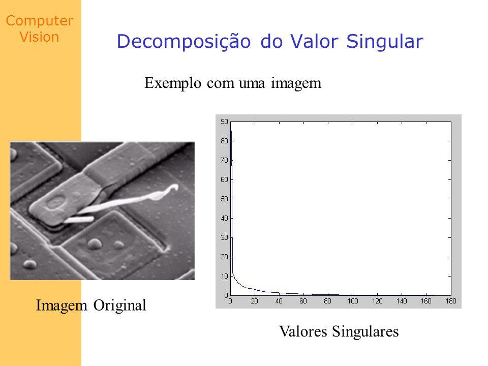 Computer Vision Decomposição do Valor Singular Exemplo com uma imagem Imagem Original Valores Singulares