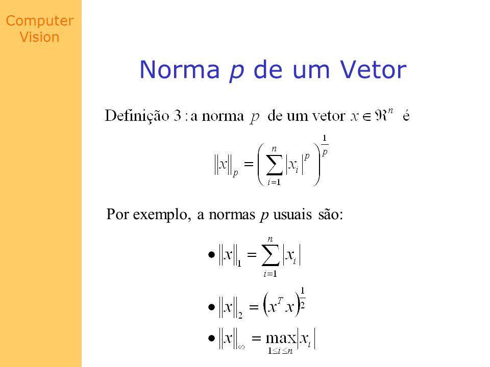 Computer Vision Norma p de um Vetor Por exemplo, a normas p usuais são:
