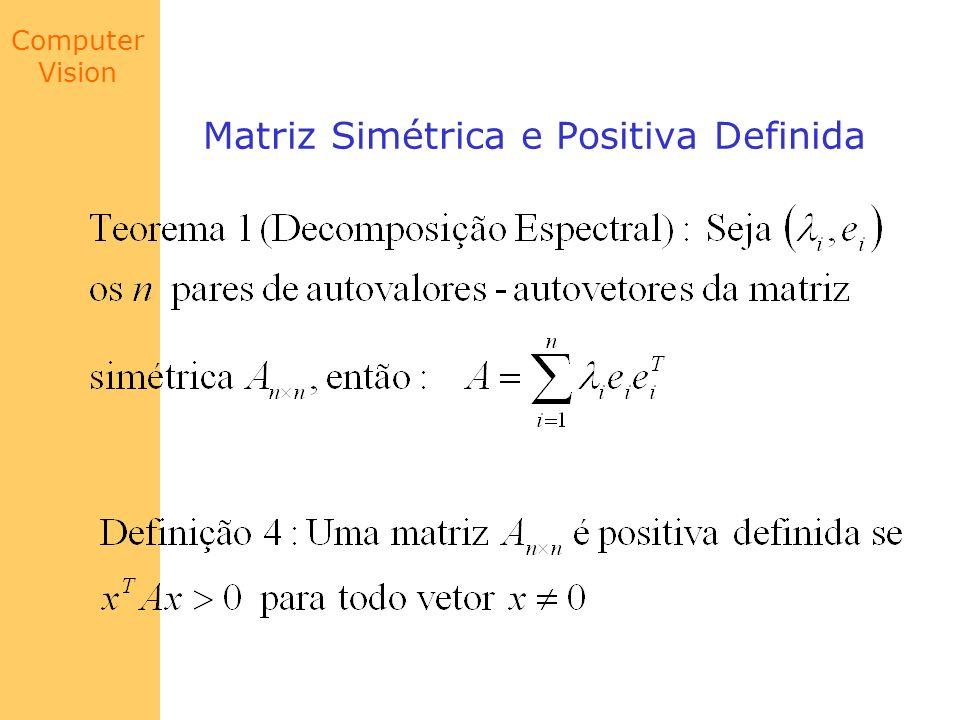 Computer Vision Decomposição do Valor Singular Conclusão 1: O teorema de de Eckart-Young, garante que A k, a matriz truncada de A, é a matriz de rank k mais próxima de A de acordo com as normas de Forbenius e norma 2 Conclusão 2: A decomposição em valores singulares de um espaço vetorial, pode separar informações latentes escondidas.