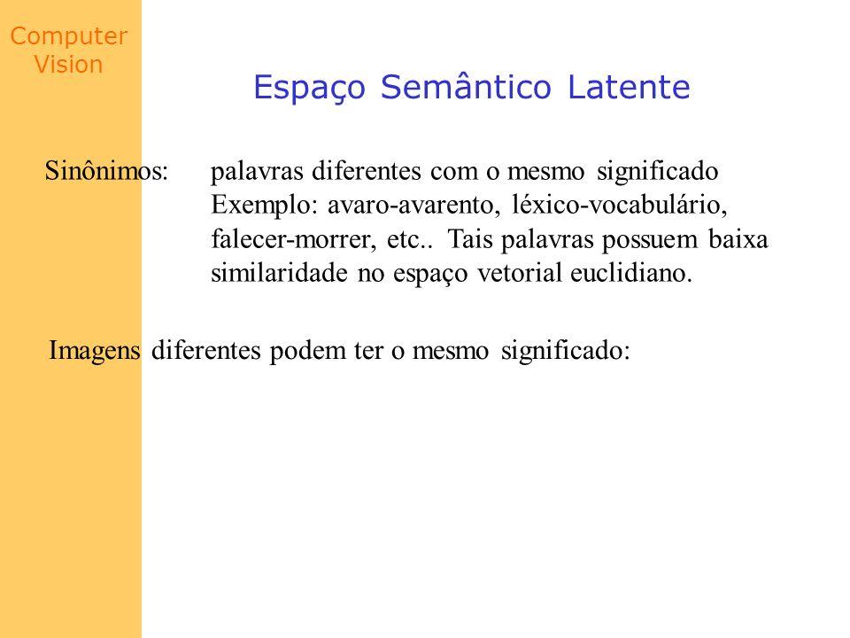Computer Vision Espaço Semântico Latente Sinônimos: palavras diferentes com o mesmo significado Exemplo: avaro-avarento, léxico-vocabulário, falecer-m
