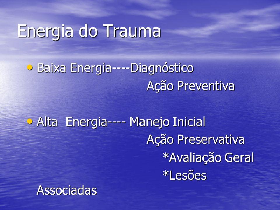 Energia do Trauma Baixa Energia----Diagnóstico Baixa Energia----Diagnóstico Ação Preventiva Ação Preventiva Alta Energia---- Manejo Inicial Alta Energ