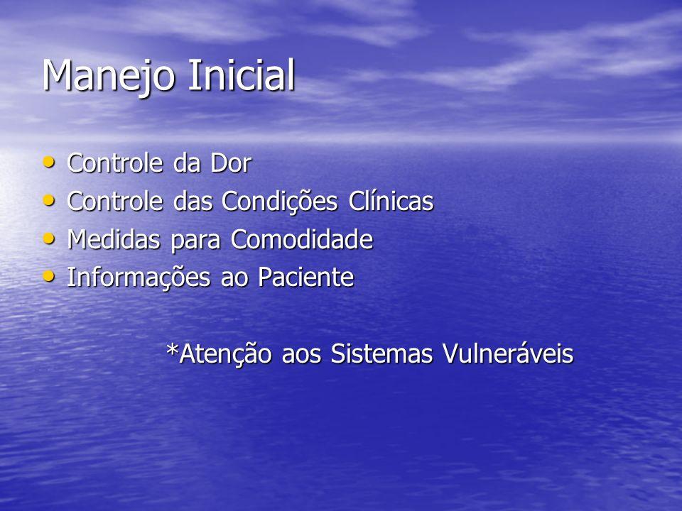 Manejo Inicial Controle da Dor Controle da Dor Controle das Condições Clínicas Controle das Condições Clínicas Medidas para Comodidade Medidas para Co
