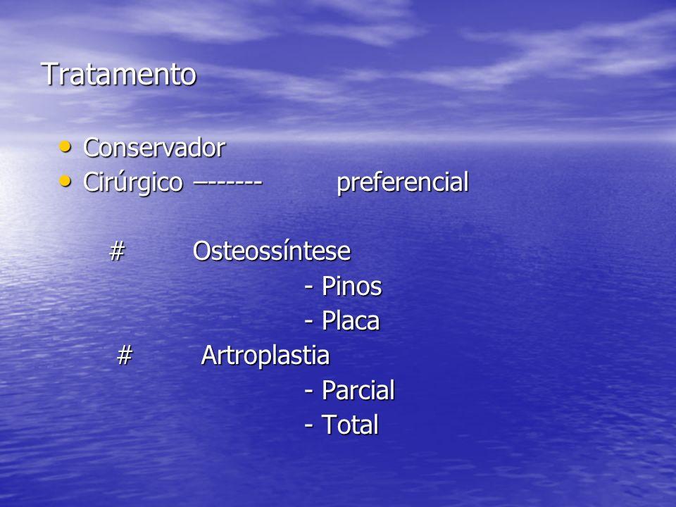 Tratamento Conservador Conservador Cirúrgico –------ preferencial Cirúrgico –------ preferencial #Osteossíntese #Osteossíntese - Pinos - Pinos - Placa