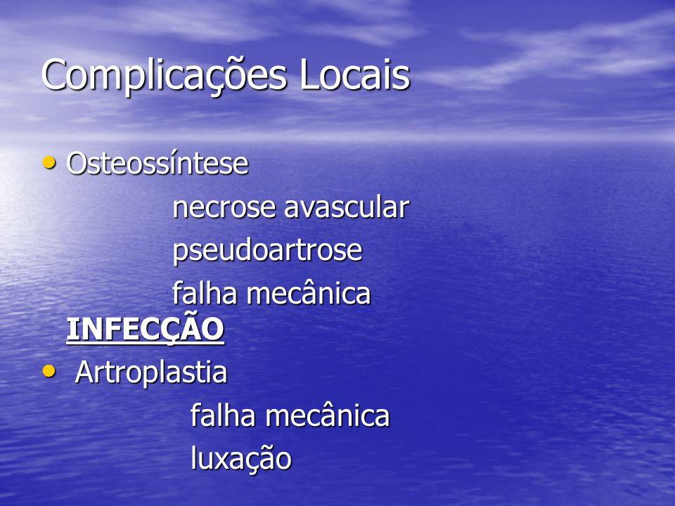 Complicações Locais Osteossíntese Osteossíntese necrose avascular necrose avascular pseudoartrose pseudoartrose falha mecânica INFECÇÃO falha mecânica