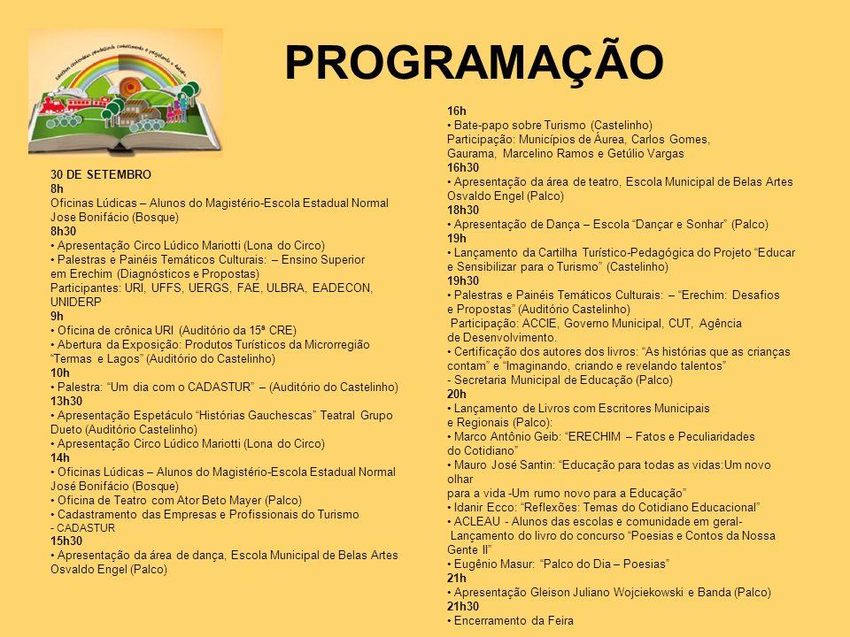 PROGRAMAÇÃO 30 DE SETEMBRO 8h Oficinas Lúdicas – Alunos do Magistério-Escola Estadual Normal Jose Bonifácio (Bosque) 8h30 Apresentação Circo Lúdico Ma