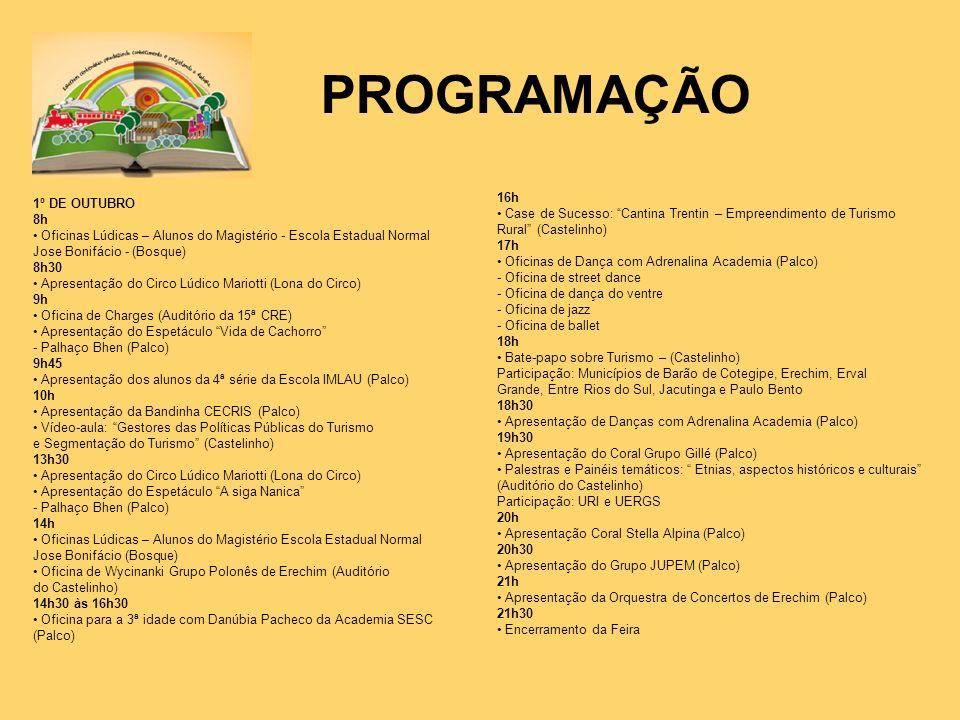 PROGRAMAÇÃO 1º DE OUTUBRO 8h Oficinas Lúdicas – Alunos do Magistério - Escola Estadual Normal Jose Bonifácio - (Bosque) 8h30 Apresentação do Circo Lúd