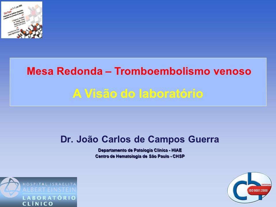 Dr. João Carlos de Campos Guerra Departamento de Patologia Clínica - HIAE Centro de Hematologia de São Paulo - CHSP Mesa Redonda – Tromboembolismo ven