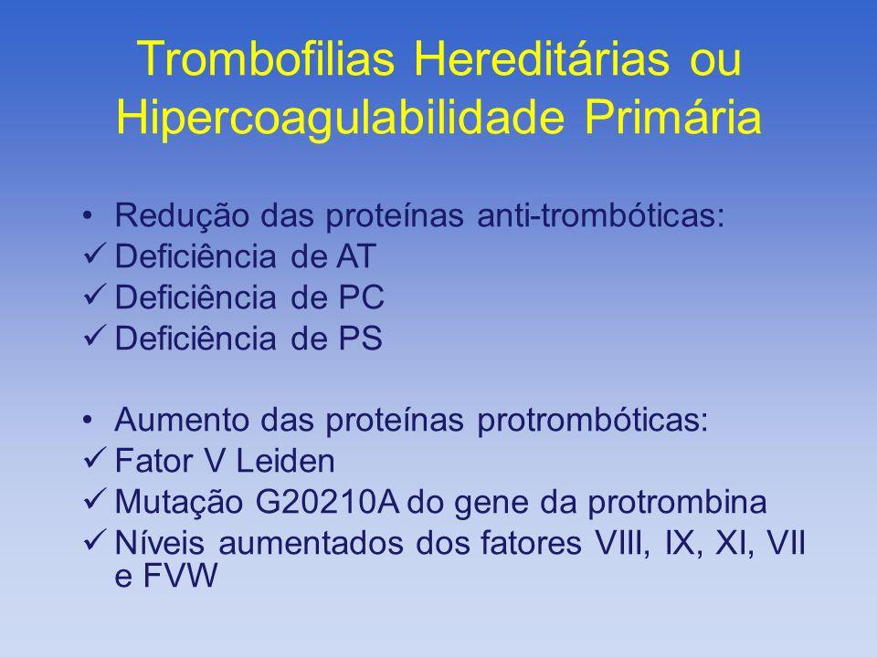 Redução das proteínas anti-trombóticas: Deficiência de AT Deficiência de PC Deficiência de PS Aumento das proteínas protrombóticas: Fator V Leiden Mut