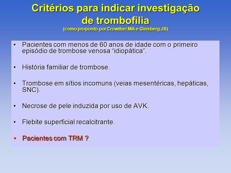 Critérios para indicar investigação de trombofilia (como proposto por Crowther MA e Ginsberg JS) Pacientes com menos de 60 anos de idade com o primeir
