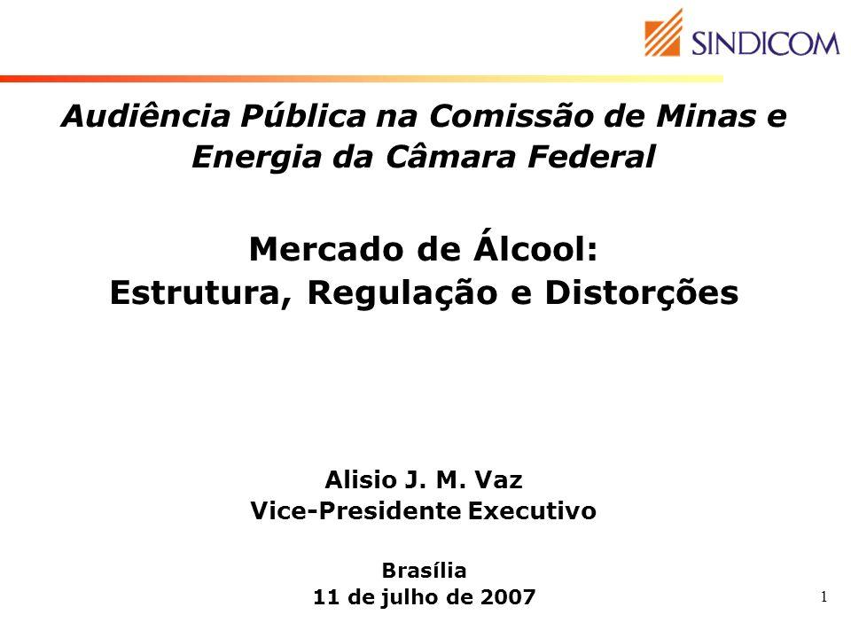 1 Audiência Pública na Comissão de Minas e Energia da Câmara Federal Mercado de Álcool: Estrutura, Regulação e Distorções Alisio J. M. Vaz Vice-Presid