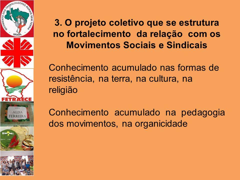 3. O projeto coletivo que se estrutura no fortalecimento da relação com os Movimentos Sociais e Sindicais Conhecimento acumulado nas formas de resistê