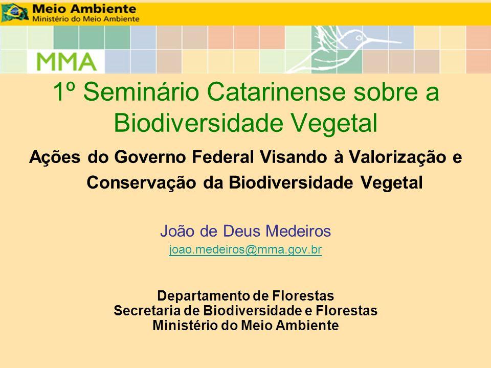 1º Seminário Catarinense sobre a Biodiversidade Vegetal Ações do Governo Federal Visando à Valorização e Conservação da Biodiversidade Vegetal João de
